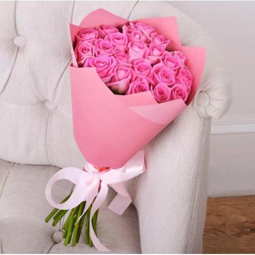 Купить на заказ Букет из 21 розовой розы с доставкой в Шу