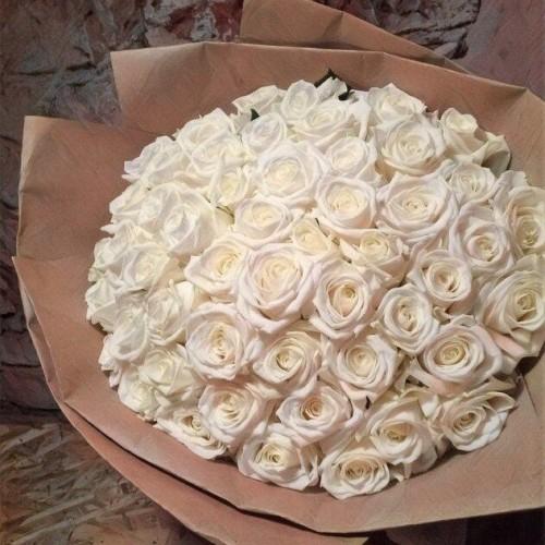 Купить на заказ Букет из 101 белой розы с доставкой в Шу